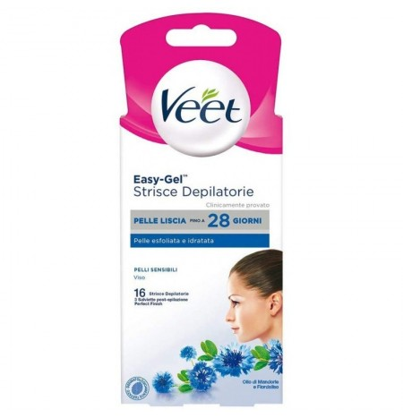 Veet Depilatory Strips Sensitive Skin Face 16 Pcs
