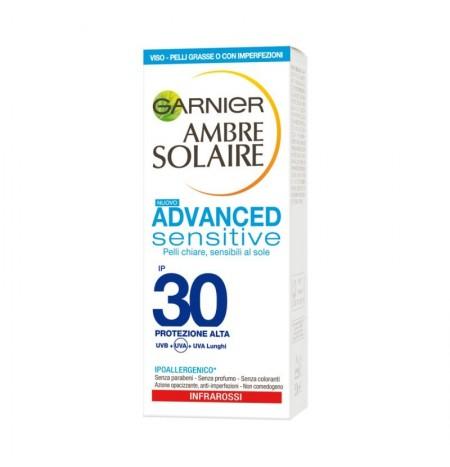 Garnier Ambre Solaire Protezione Solare per Pelli Grasse IP 30 Viso 50ML