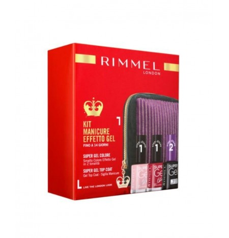 Rimmel London 2 Smalti Effetto Gel + 1 Top Coat + Pochette