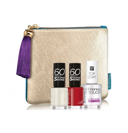 Rimmel London 2 Nail Polishes 60 Seconds + 1 Top Coat + Pochette
