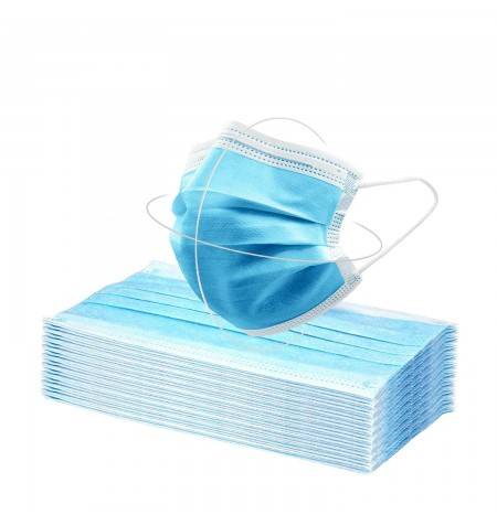 Disposable 3 Layers Mask with Elastics and Nasal Bridge 50 Pcs