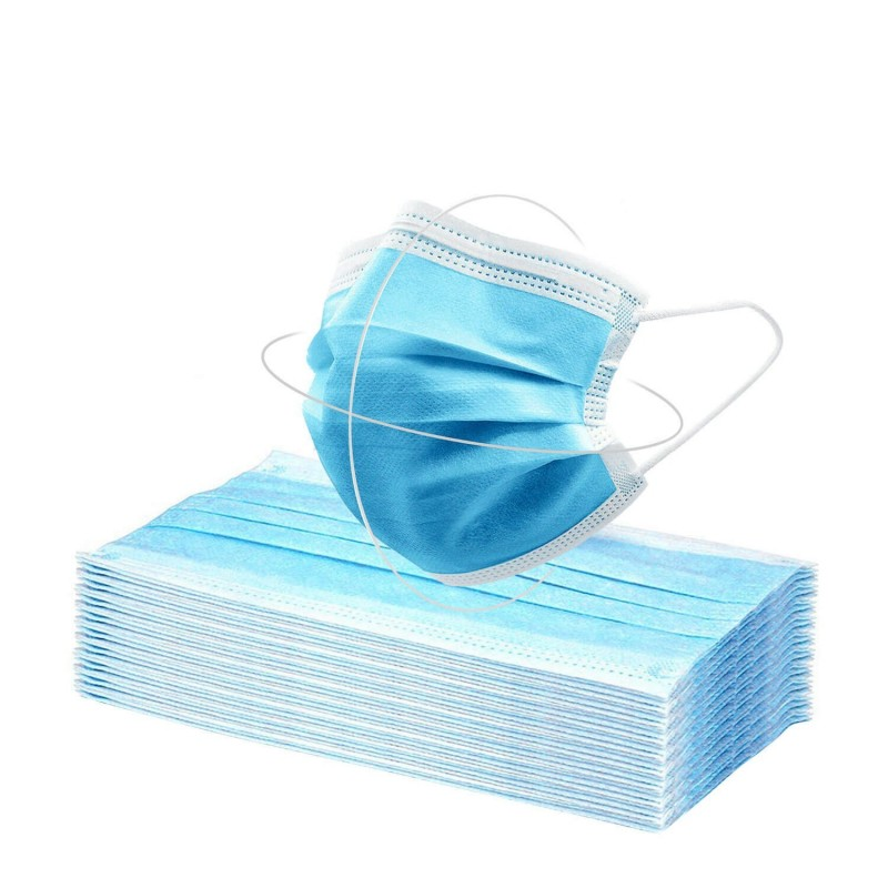 Disposable 3 Layers Mask with Elastics and Nasal Bridge 50 Pcs