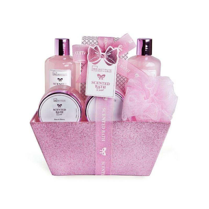 IDC Institute Pink Basket Bathroom Set