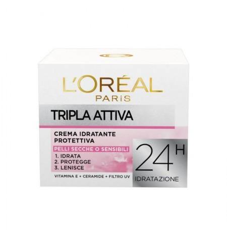 L'Oréal Paris Tripla Attiva Crema Viso Idratante per Pelli Secche o Sensibili 50ML