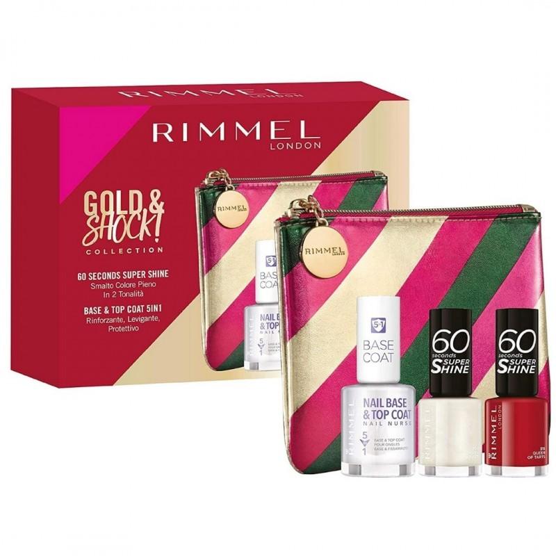 Rimmel London 2 Super Shine Enamels + 1 Base Coat + Pochette