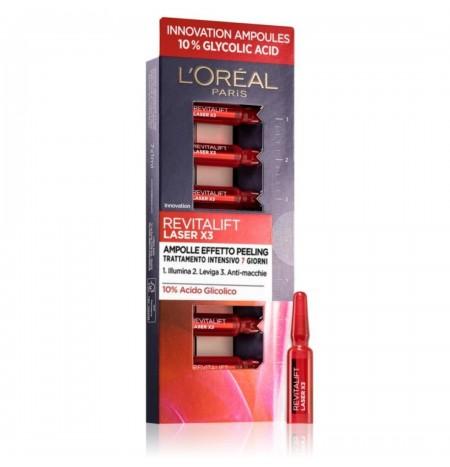 L'Oréal Paris Revitalift Laser X3 Ampolle Effetto Peeling con Acido Glicolico